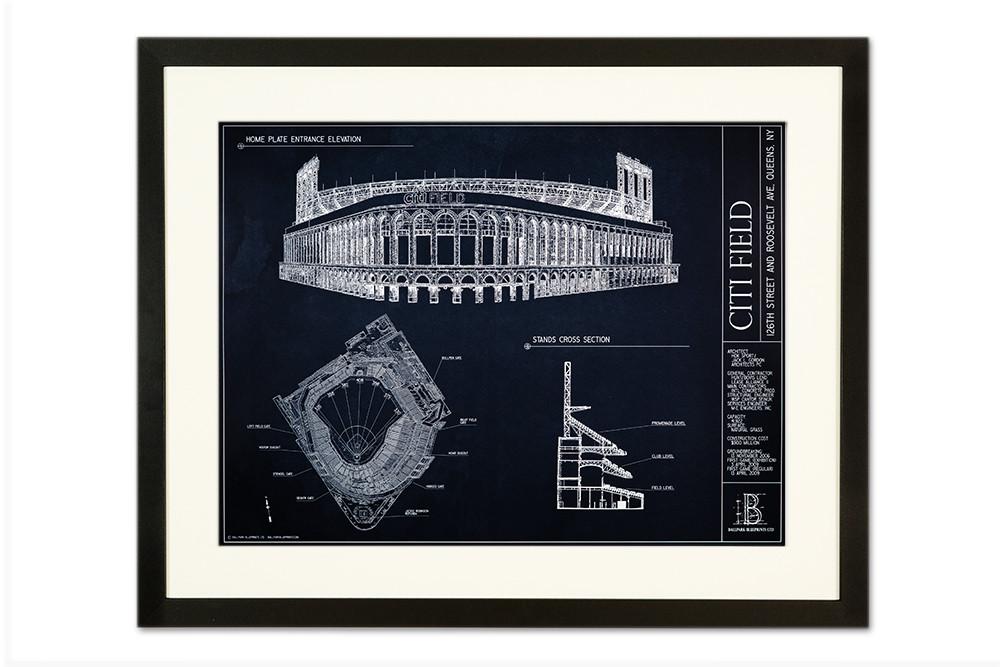 Citi field ballpark blueprint poster the stadium shoppe product description malvernweather Gallery