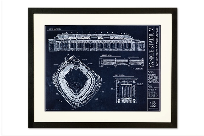 Yankee stadium ballpark blueprint poster the stadium shoppe available in black and american walnut finishes classic picture frame with a smooth 2 face with gently rounded edges malvernweather Choice Image
