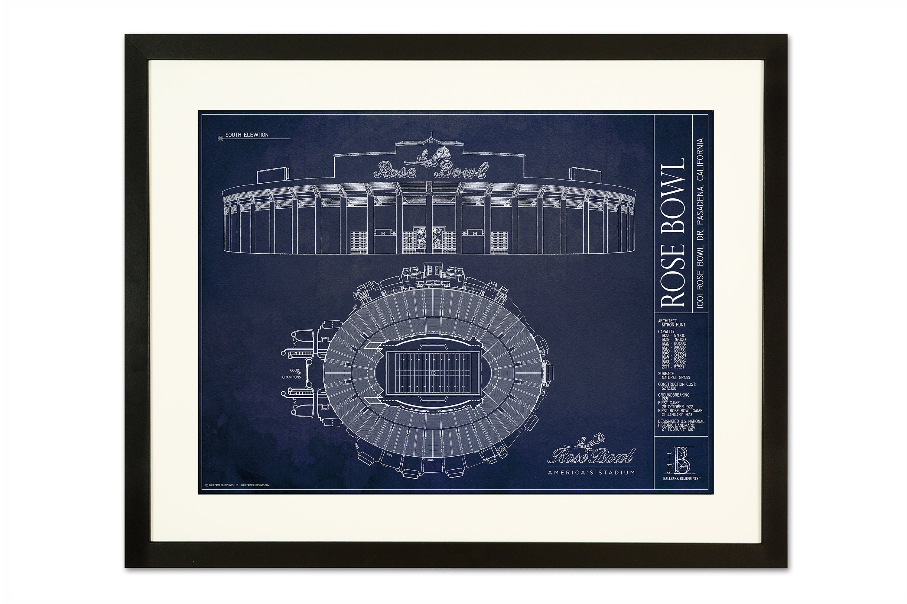 The rose bowl stadium blueprint poster the stadium shoppe rose bowl black frameg malvernweather Image collections