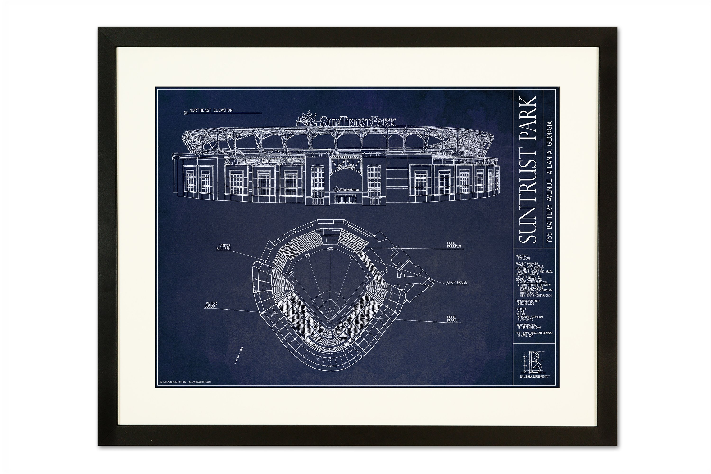 Suntrust park ballpark blueprint poster the stadium shoppe suntrust park black frameg malvernweather Images